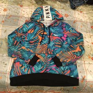 PINK tropical hoodie (large) like new